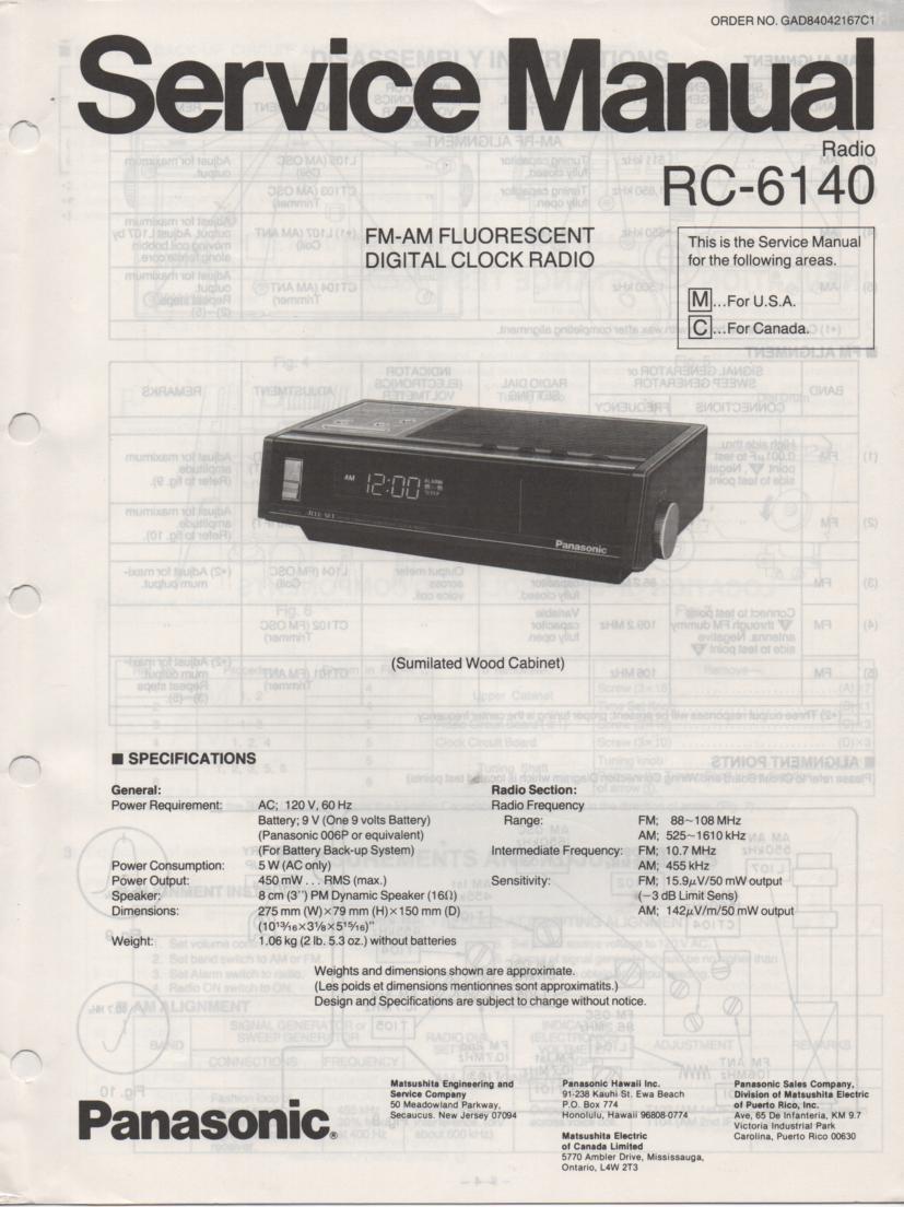 RC-6140C RC-6140M Digital Clock Radio Service Manual