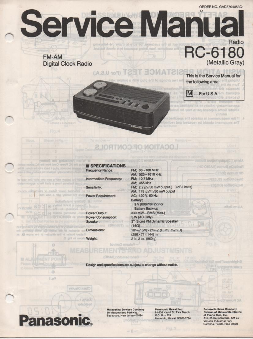 RC-6180M Digital Clock Radio Service Manual