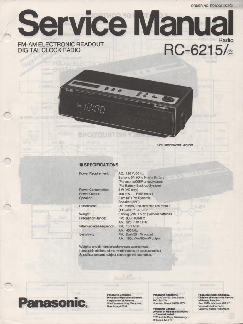 RC-6215 RC-6215C Digital Clock Radio Service Manual