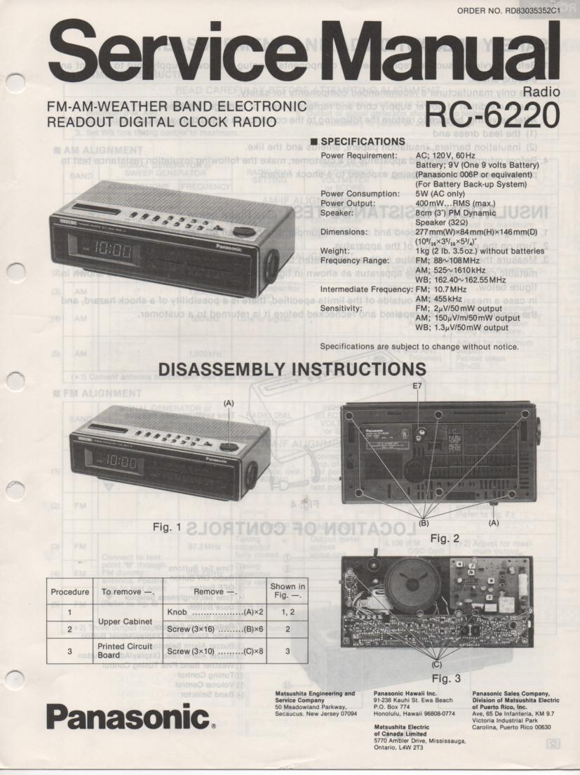 RC-6220 Weather Band Clock Radio Service Manual