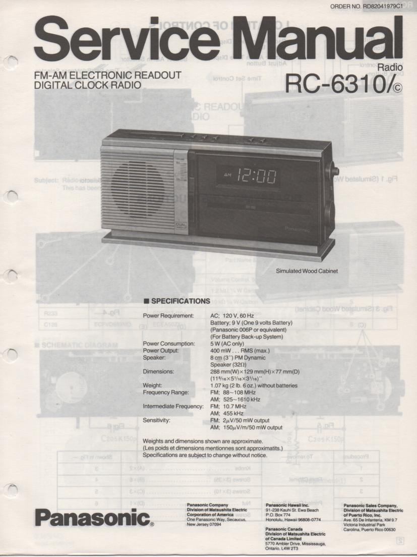 RC-6310 RC-6310A RC-6310C Digital Clock Radio Service Manual