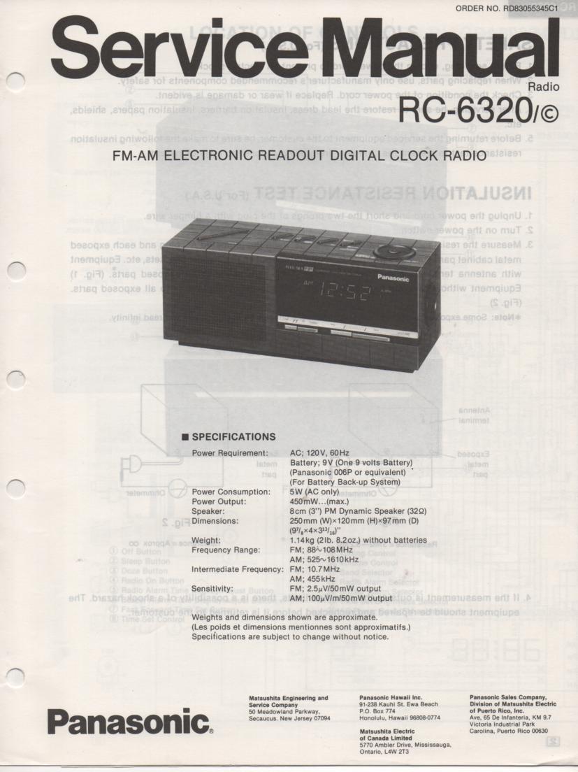 RC-6320 RC-6320C Digital Clock Radio Service Manual