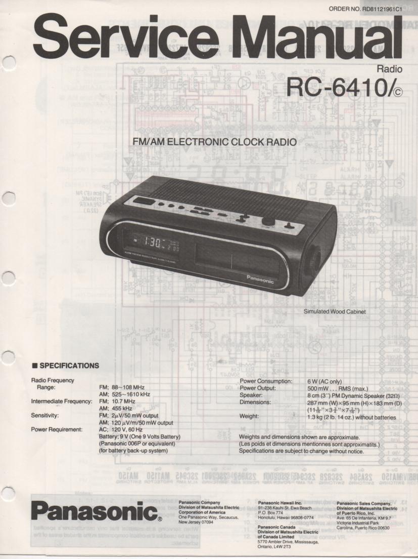 RC-6410 RC-6410C Digital Clock Radio Service Manual