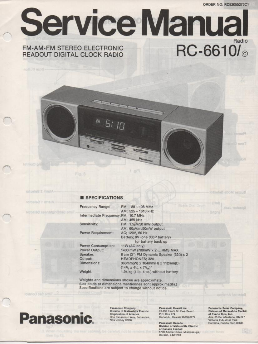 RC-6610 RC-6610C Digital Clock Radio Service Manual