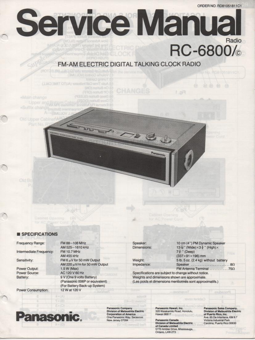 RC-6800 RC-6800C Talking Clock Radio Service Manual
