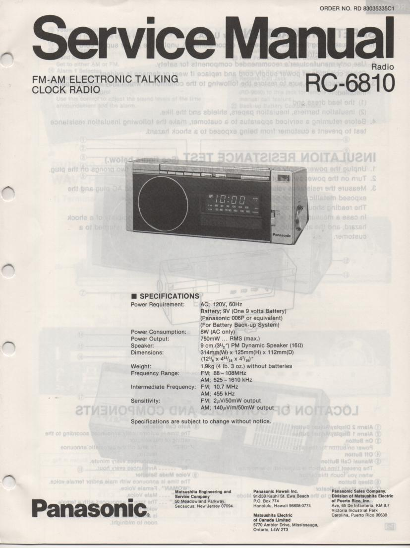 RC-6810 Talking Clock Radio Service Manual