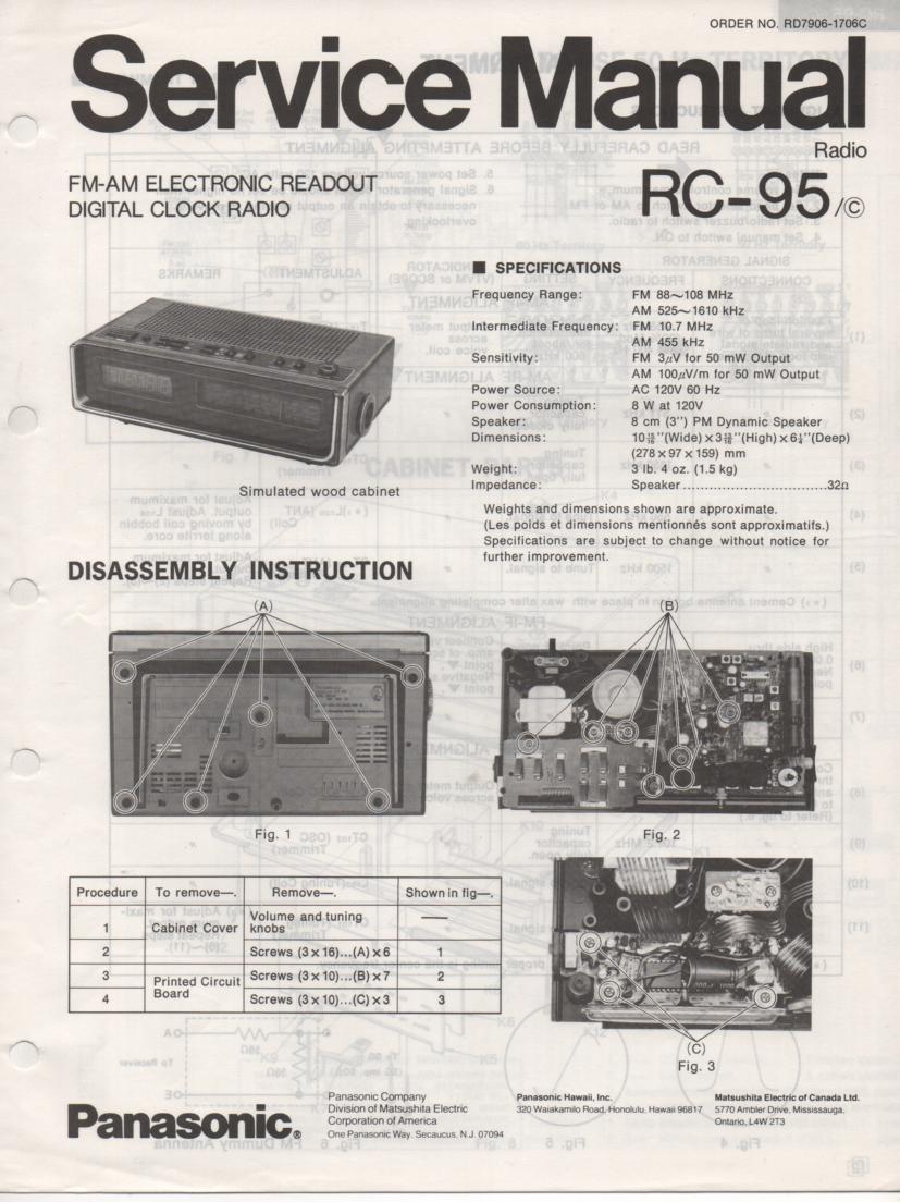 RC-95 RC-95C Digital Clock Radio Service Manual. 2 Manual Set..