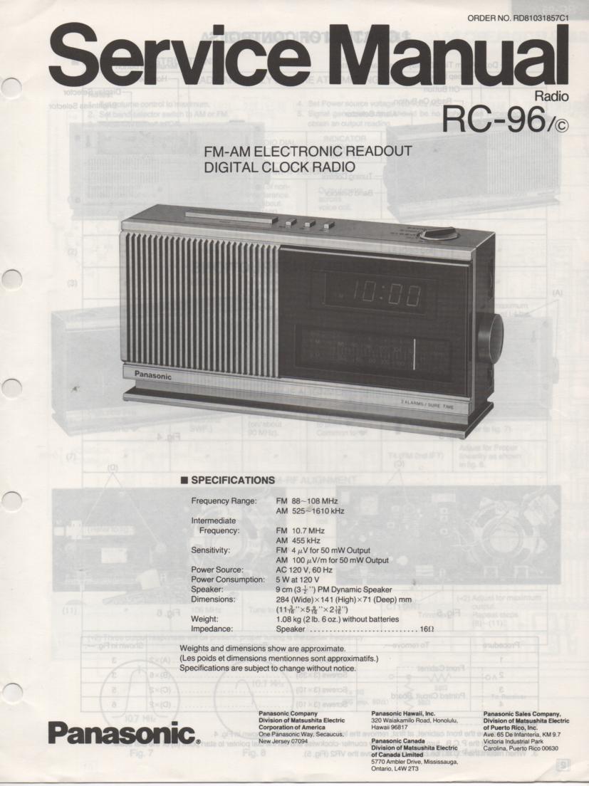 RC-96 RC-96C Digital Clock Radio Service Manual
