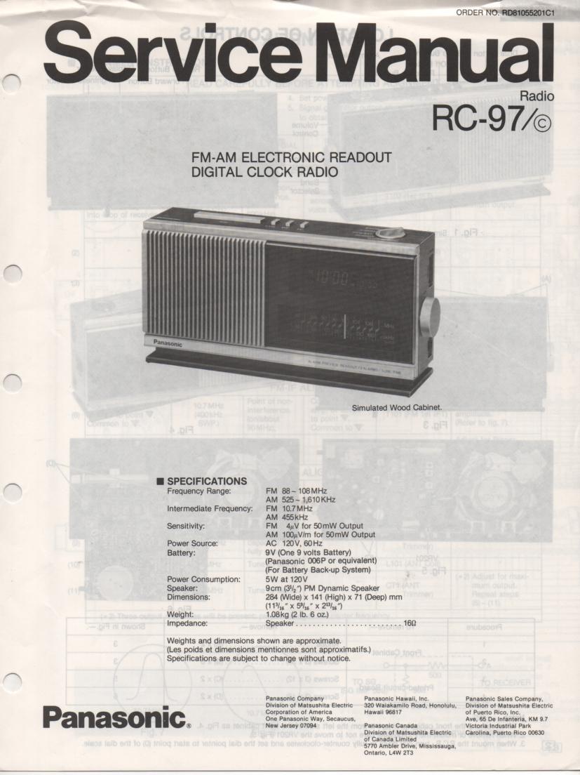 RC-97 RC-97C Digital Clock Radio Service Manual