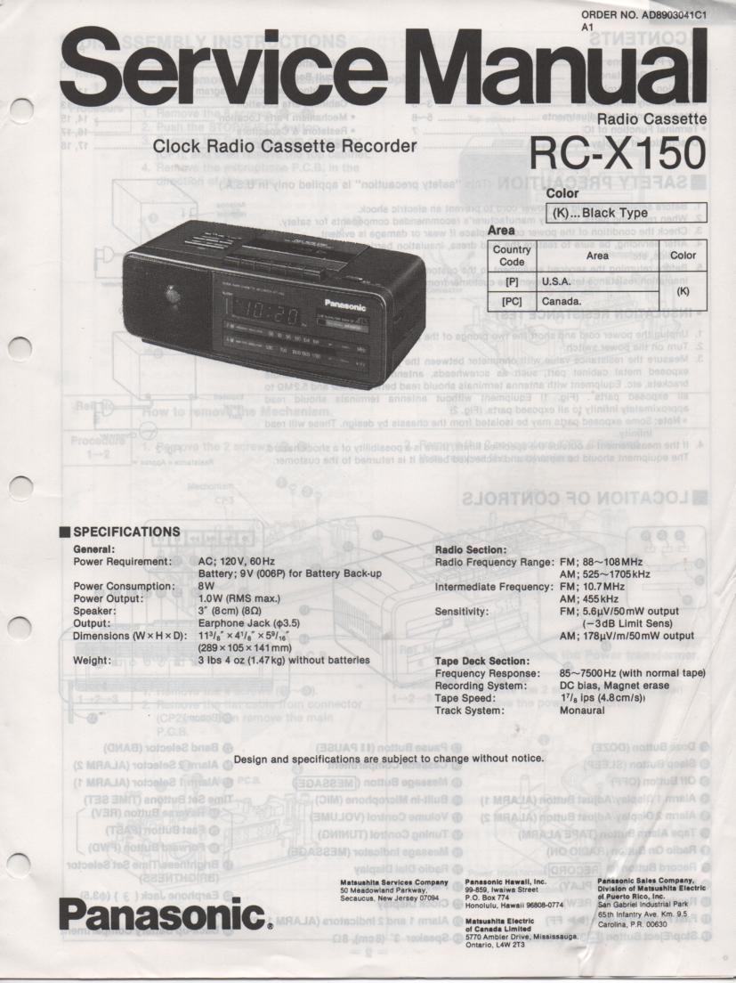 RC-X150 Cassette Deck Clock Radio Service Manual