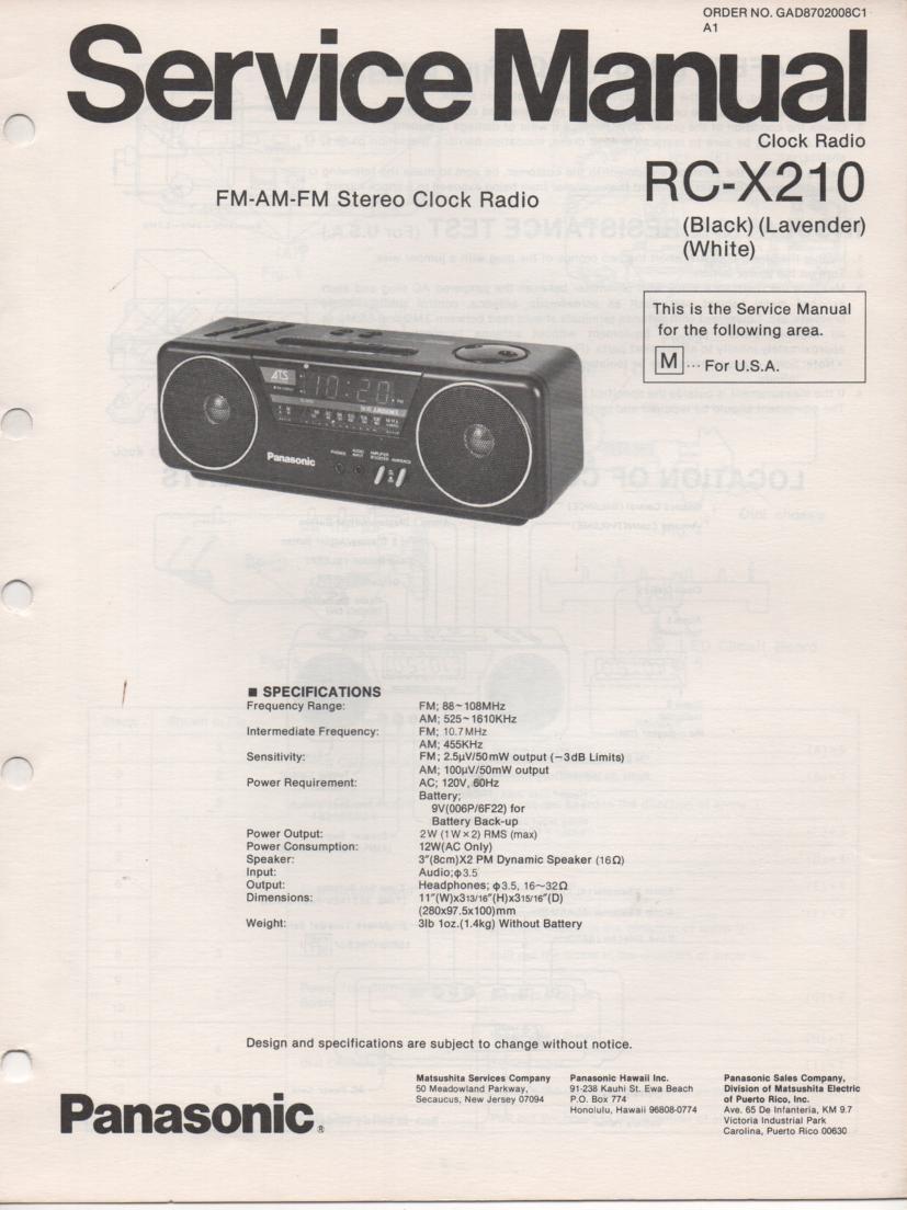 RC-X210 M Cassette Deck Clock Radio Service Manual