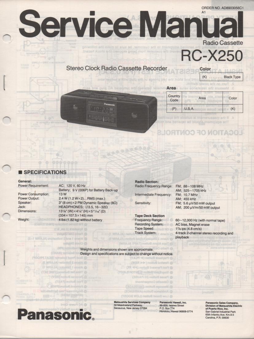 RC-X250 K P Cassette Deck Clock Radio Service Manual