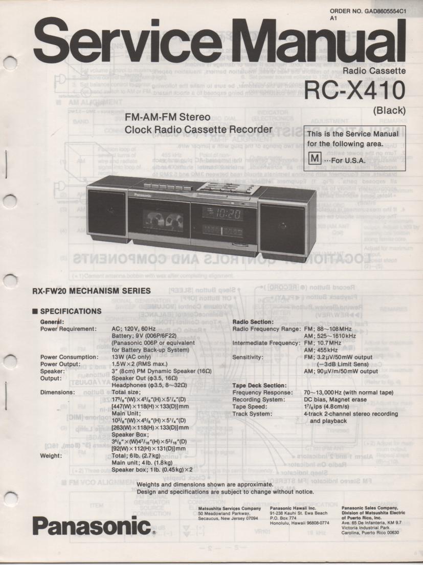RC-X410M Cassette Deck Clock Radio Service Manual