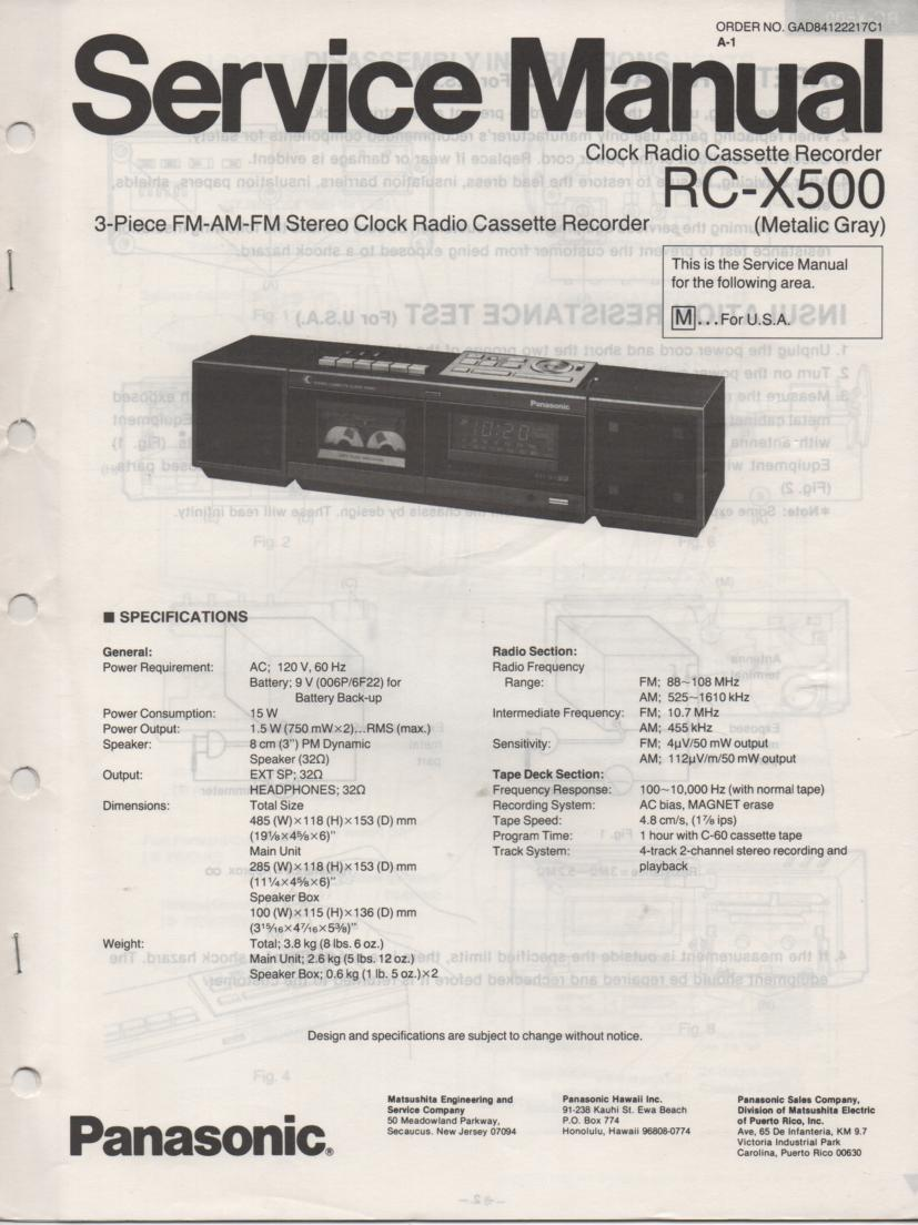 RC-X500 Cassette Deck Clock Radio Service Manual