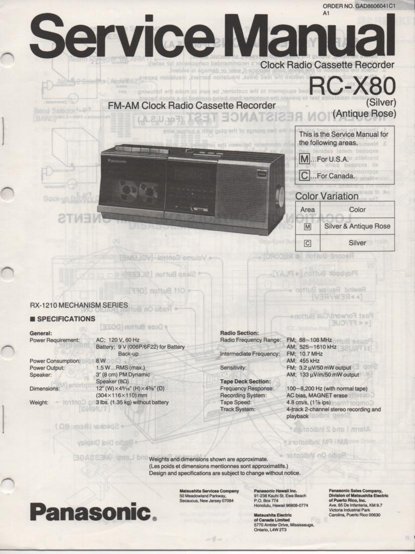 RC-X80 Cassette Deck Clock Radio Service Manual
