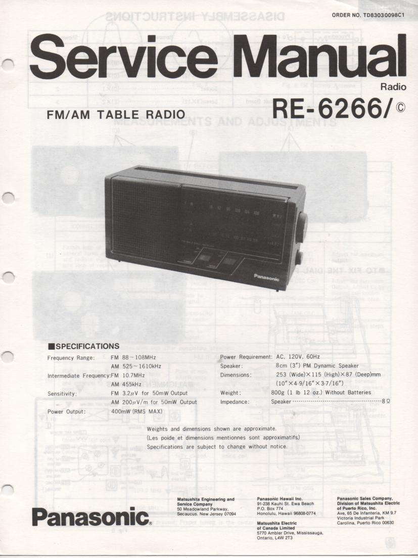 RE-6266 RE-6266C Table Radio Service Manual