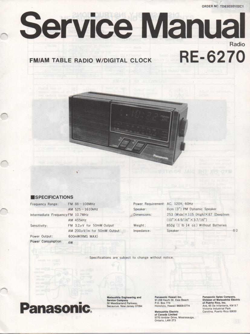 RE-6270 Table Radio Service Manual