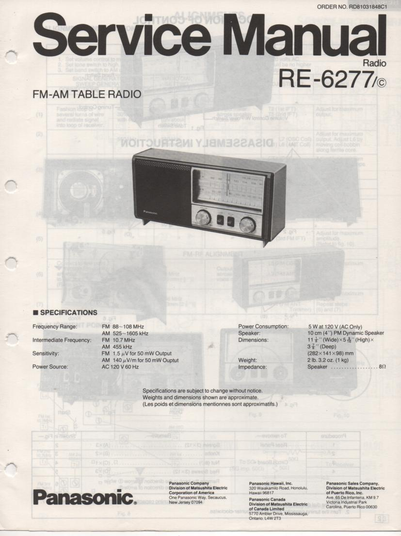 RE-6277 RC-6277C Table Radio Service Manual