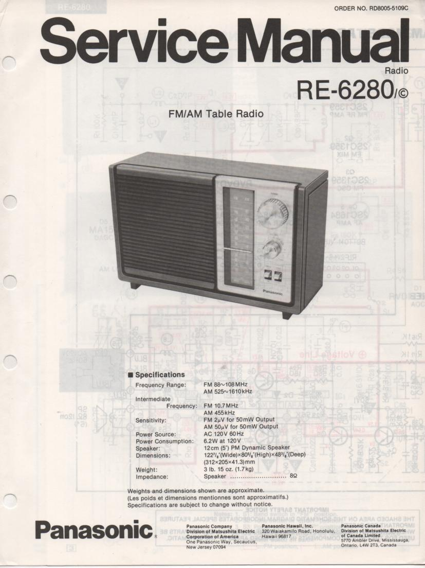 RE-6280 RC-6280C Table Radio Service Manual