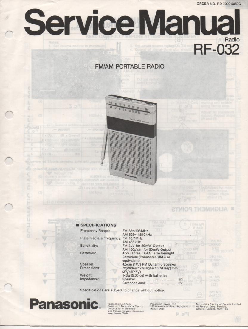 RF-032 AM FM Radio Service Manual