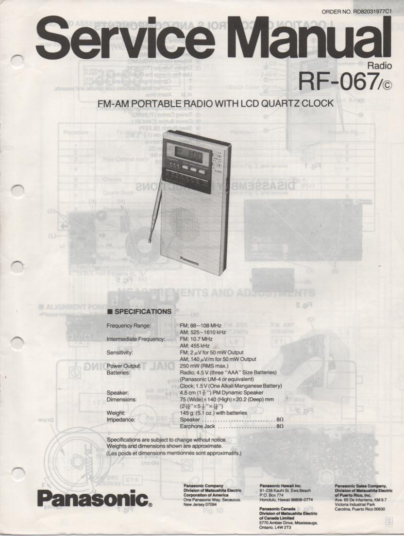 RF-067 AM FM Radio Service Manual