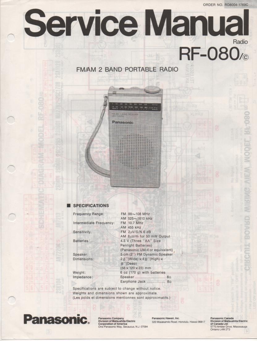 RF-080 AM FM Radio Service Manual