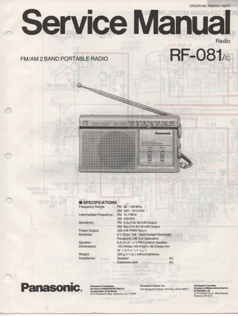 RF-081 AM FM Radio Service Manual