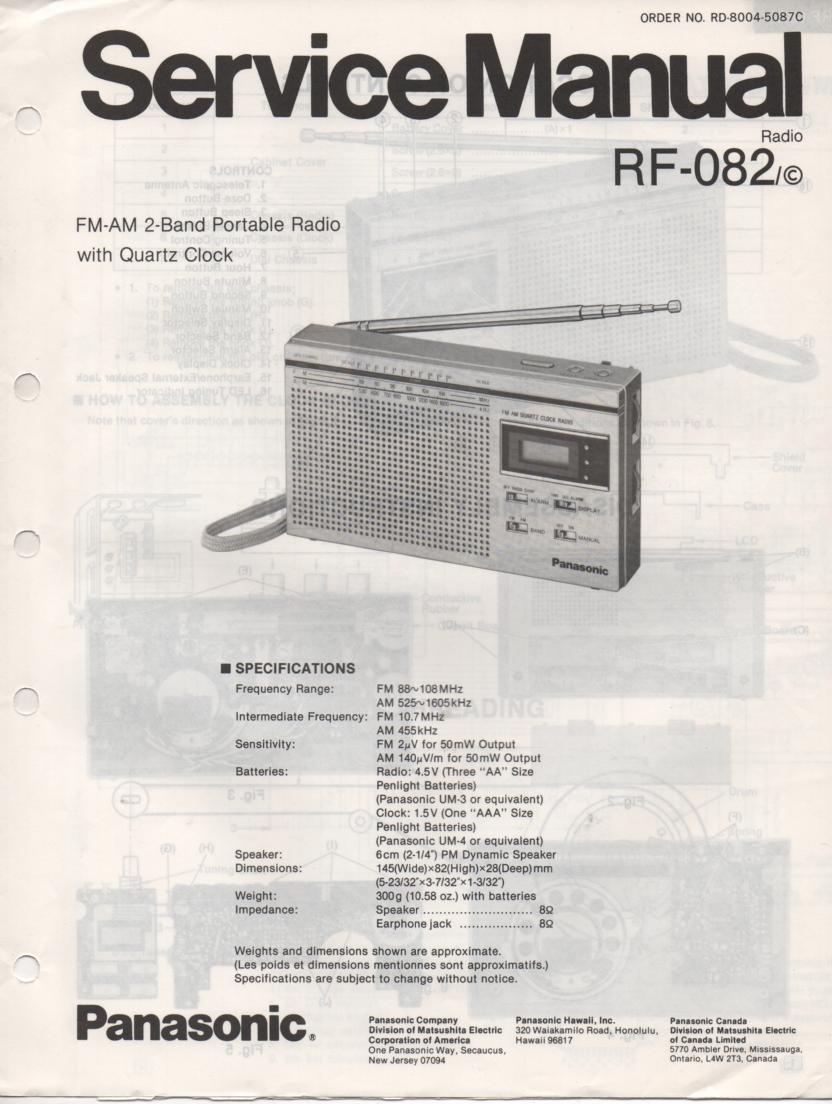 RF-082 AM FM Radio Service Manual