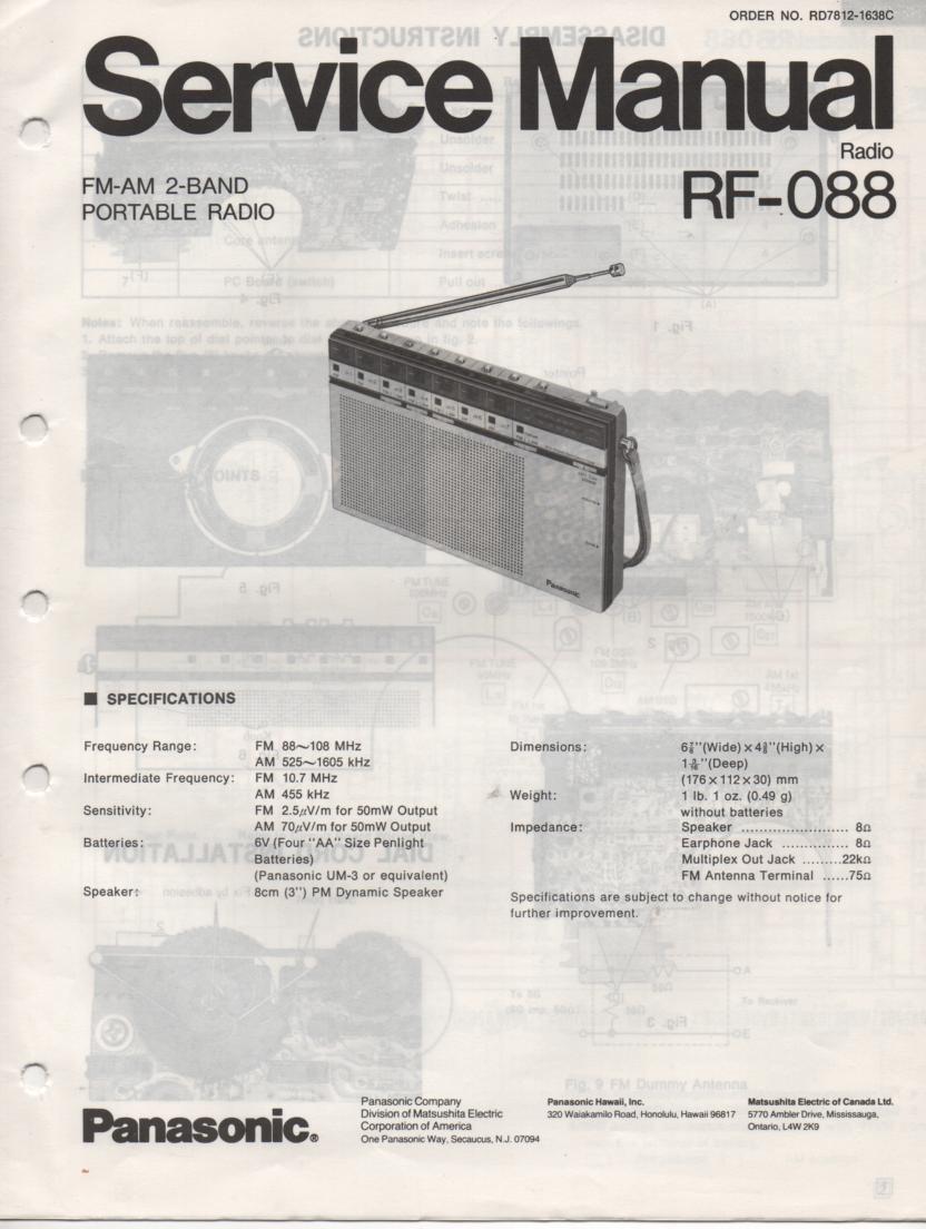 RF-088 AM FM Radio Service Manual
