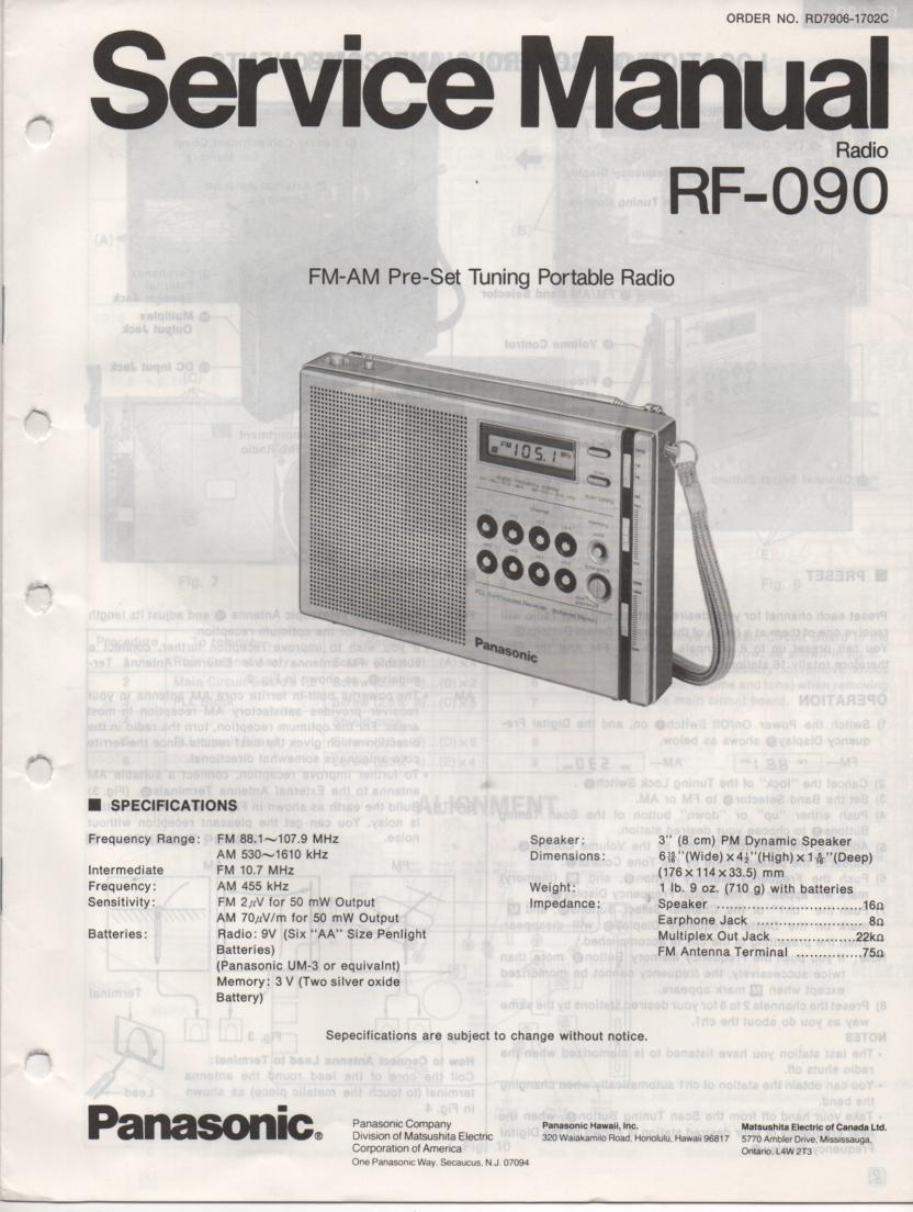 RF-090 AM FM Radio Service Manual