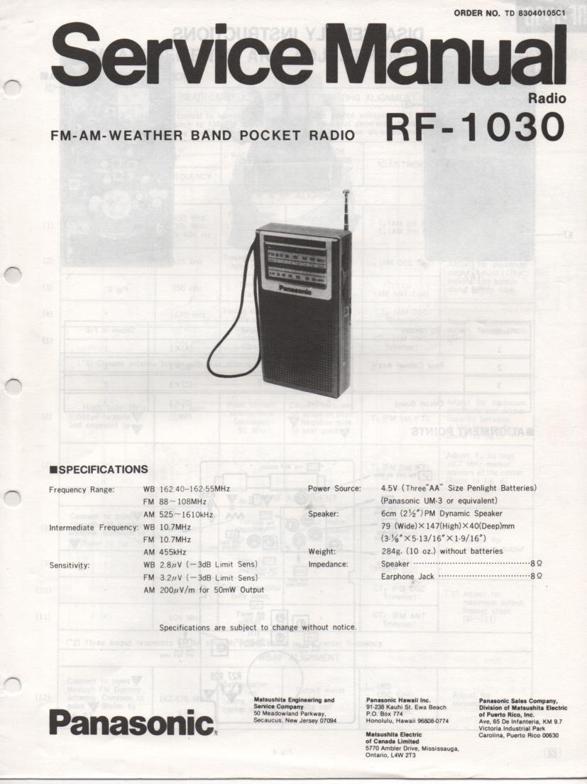 RF-1030 AM FM Radio Service Manual