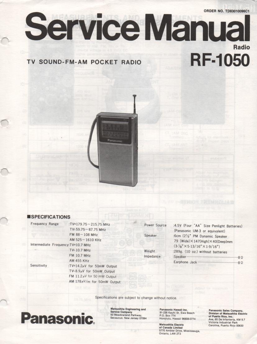 RF-1050 AM FM Radio Service Manual