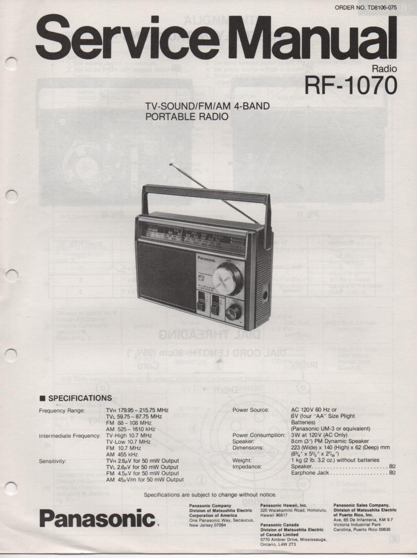 RF-1070 4 Band Radio Service Manual