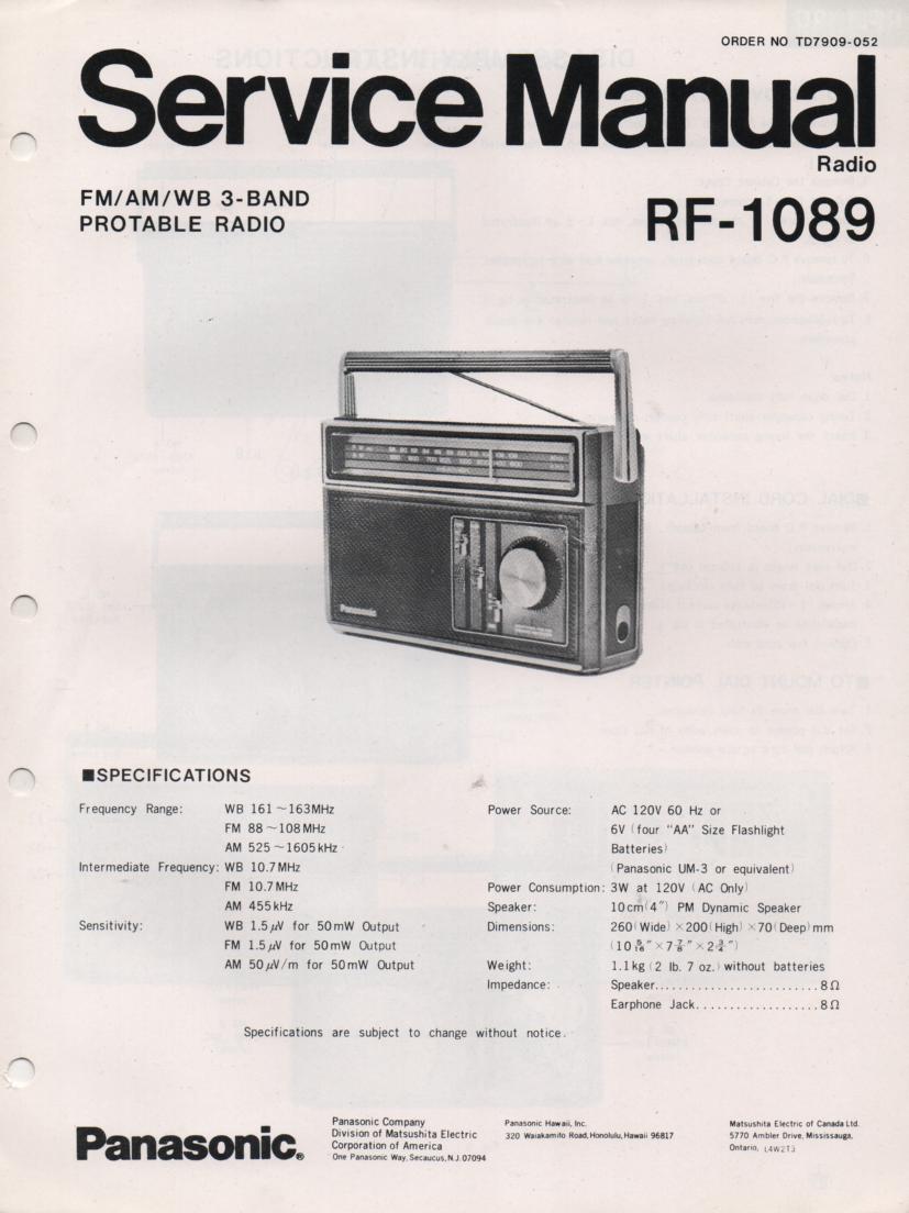 RF-1089 3 Band Radio Service Manual