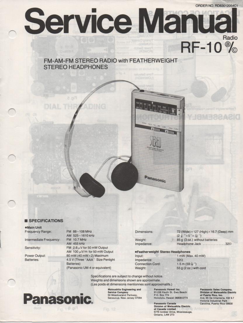 RF-10 AM FM Radio Service Manual