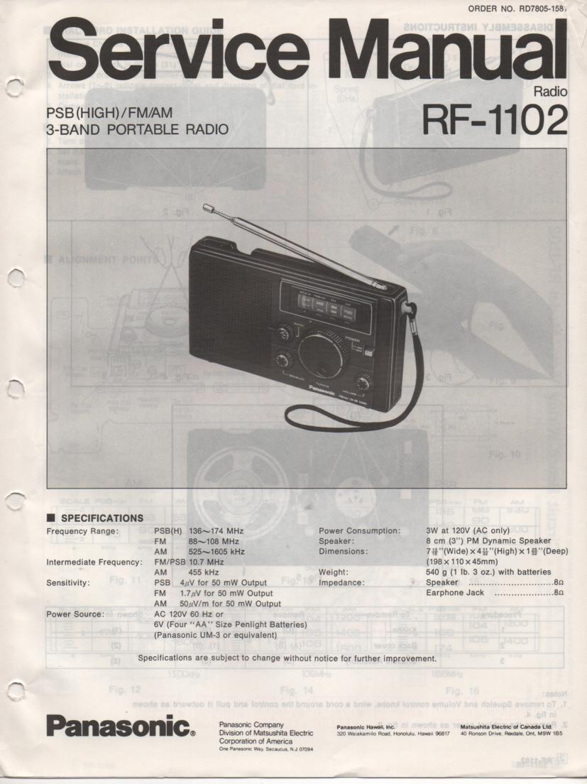 RF-1102 AM FM 3 Band Radio Service Manual
