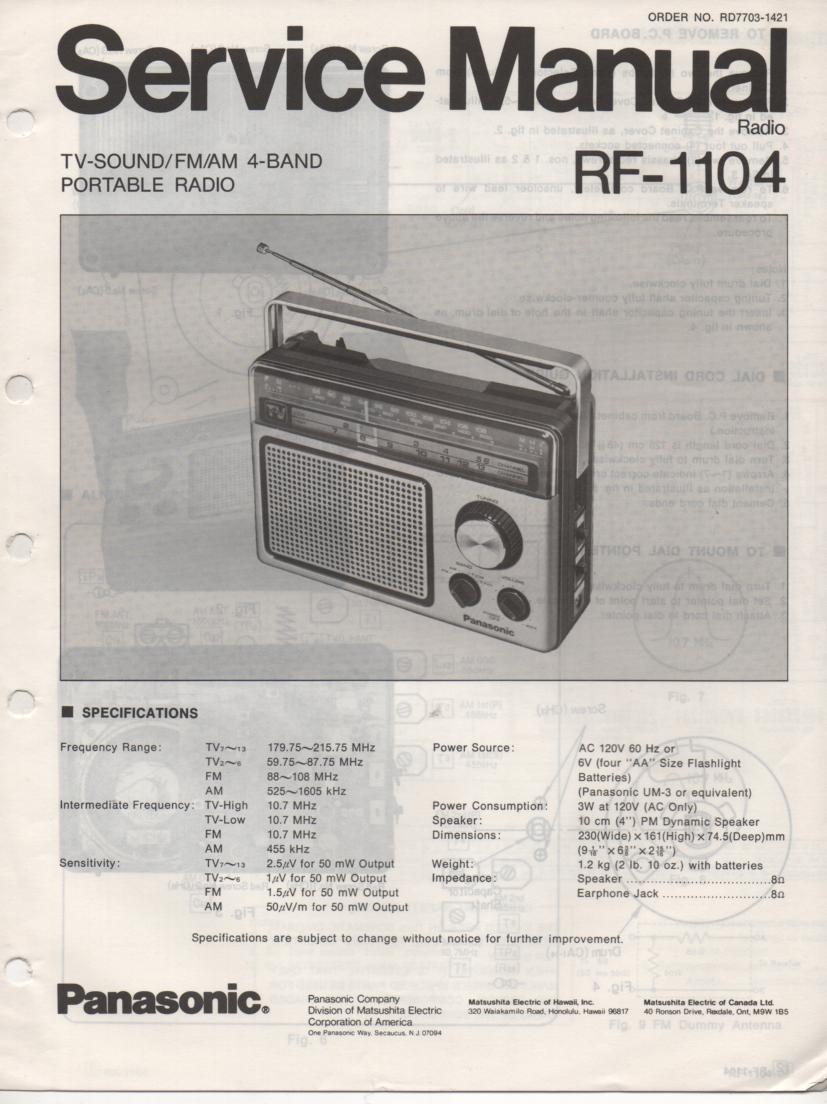 RF-1104 AM FM 4 Band Radio Service Manual