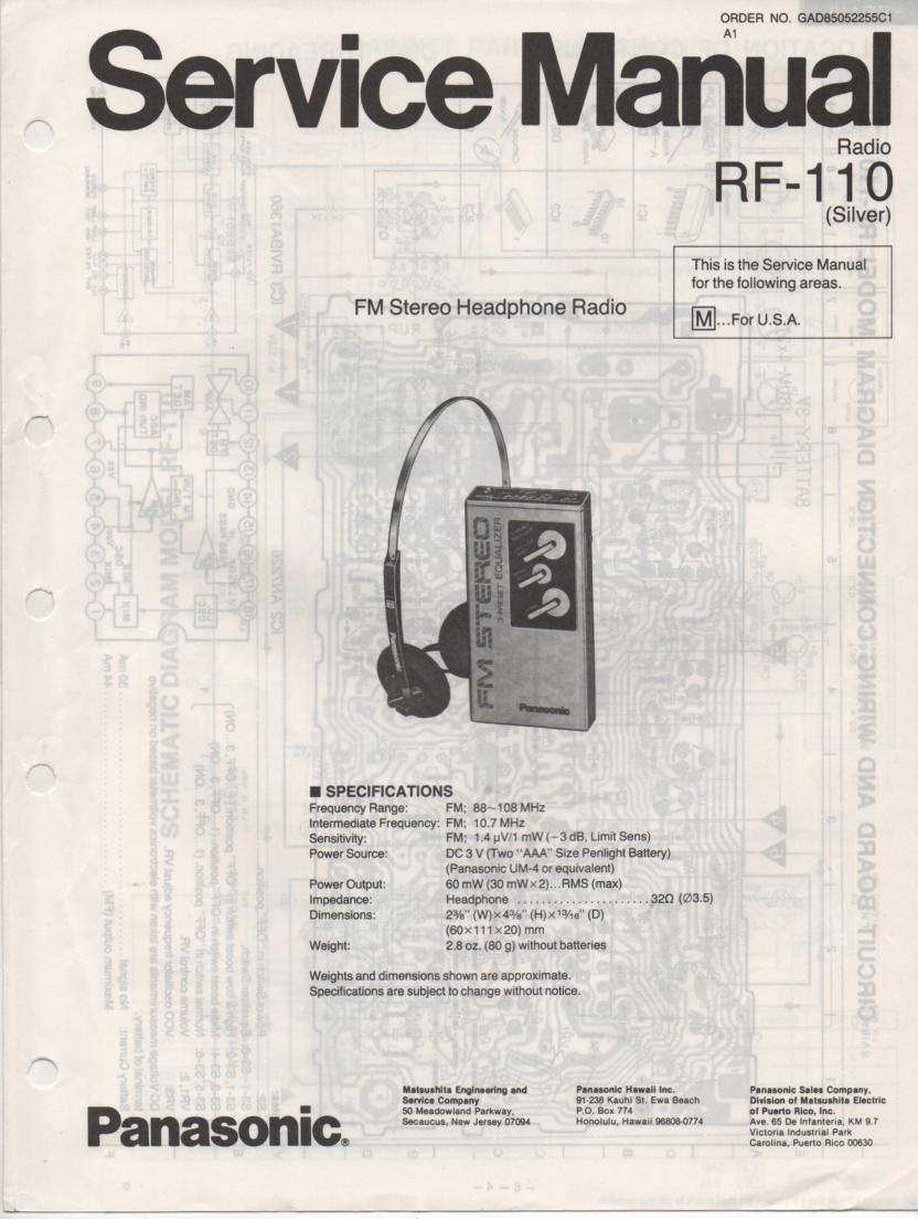 RF-110 AM FM Radio Service Manual