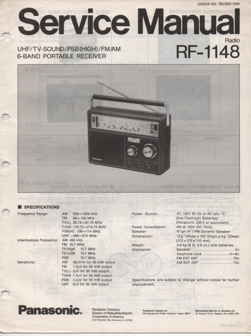 RF-1148 6 Band Radio Service Manual