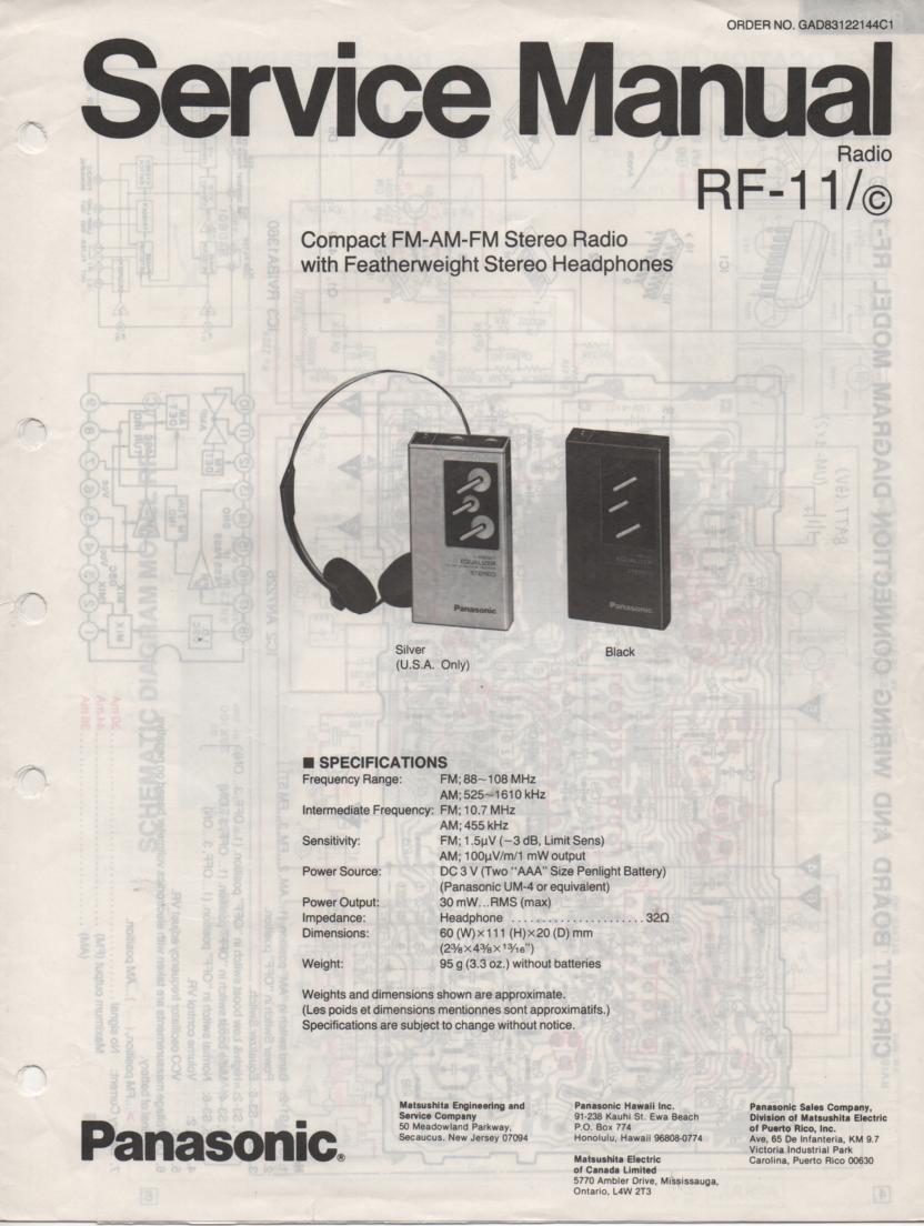 RF-11 AM FM Radio Service Manual