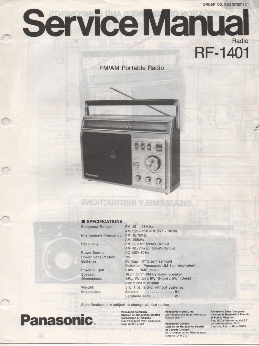 RF-1401 AM FM Radio Service Manual