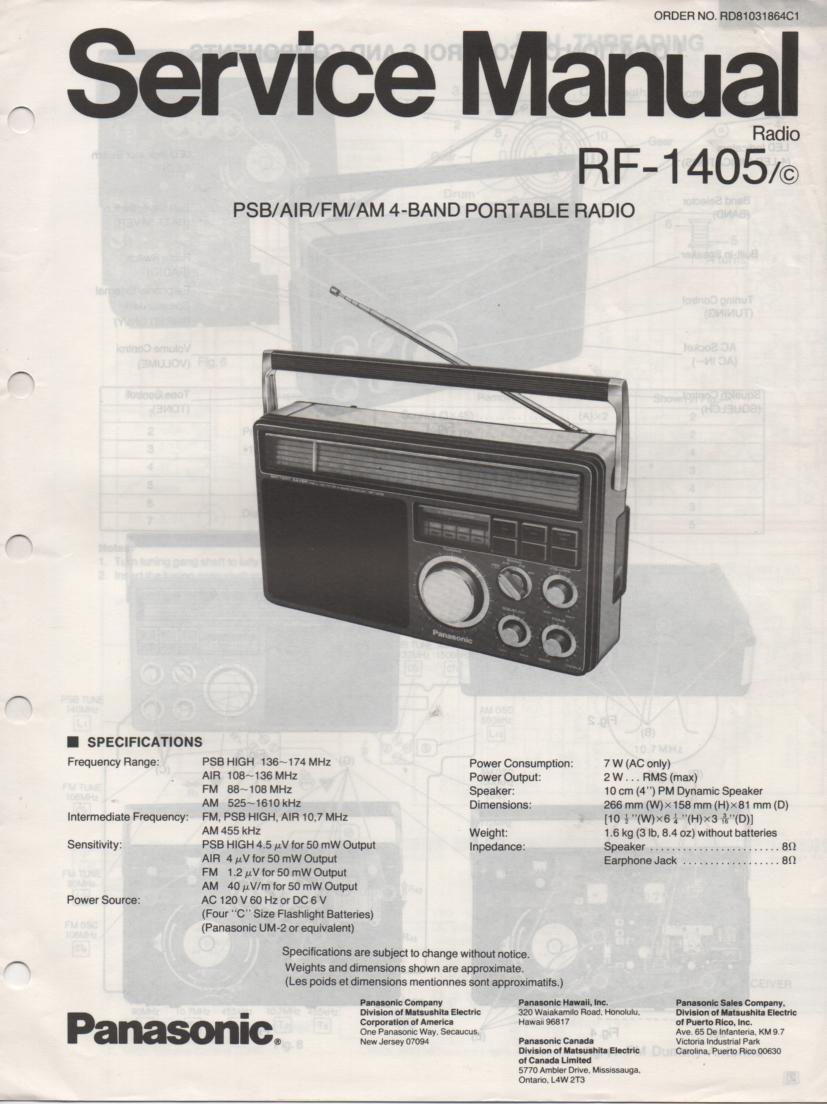 RF-1405 AM FM 4 Band Service Manual