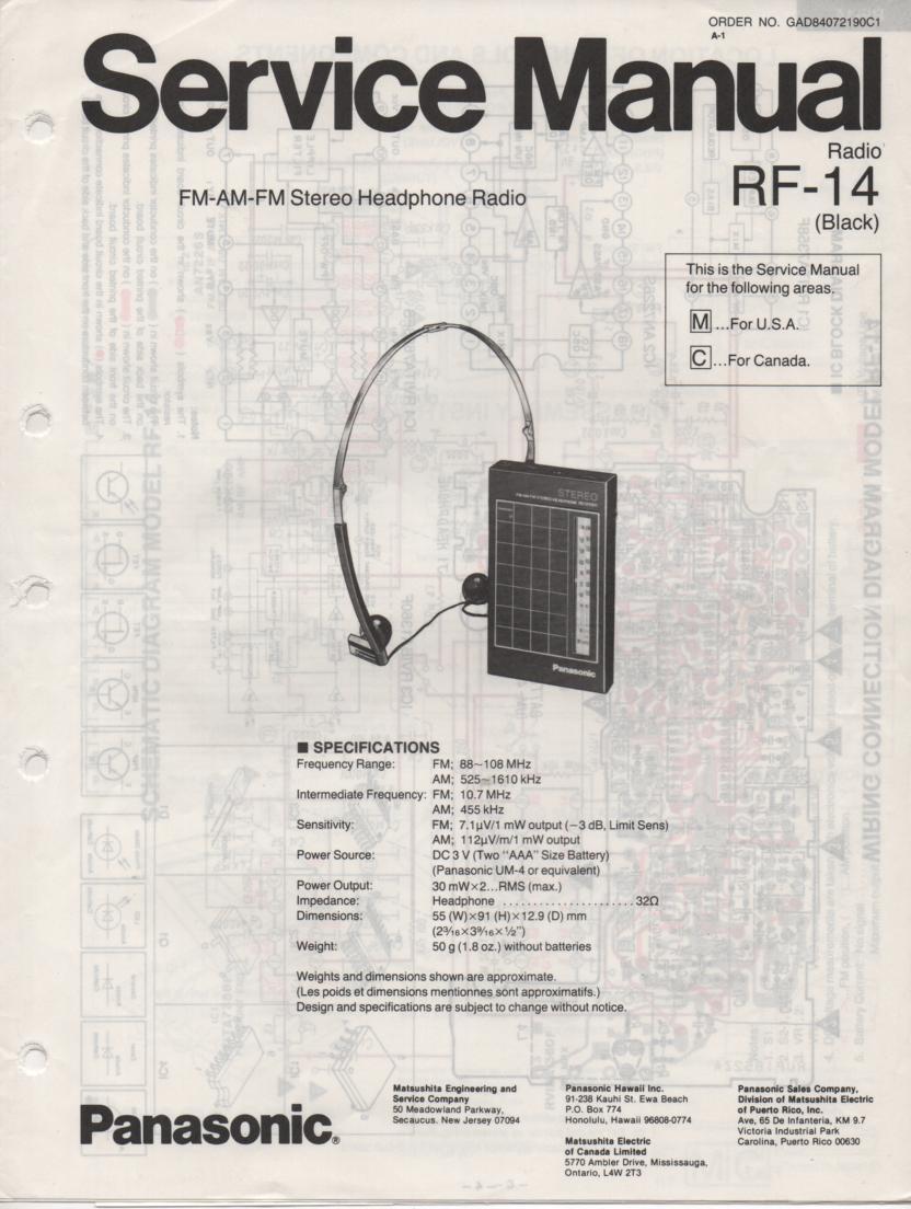 RF-14 AM FM Radio Service Manual
