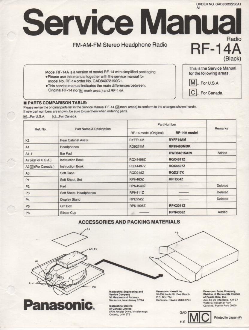 RF-14A AM FM Radio Service Manual