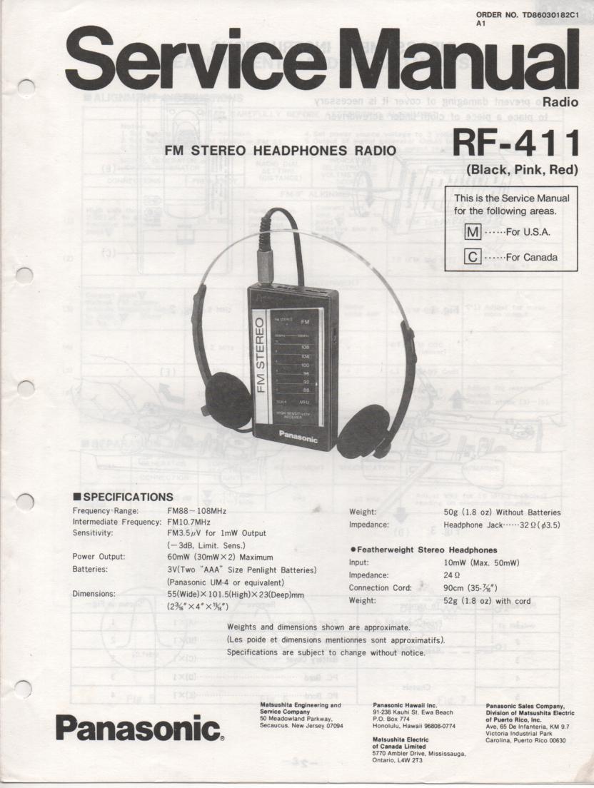 RF-411 AM FM Radio Service Manual