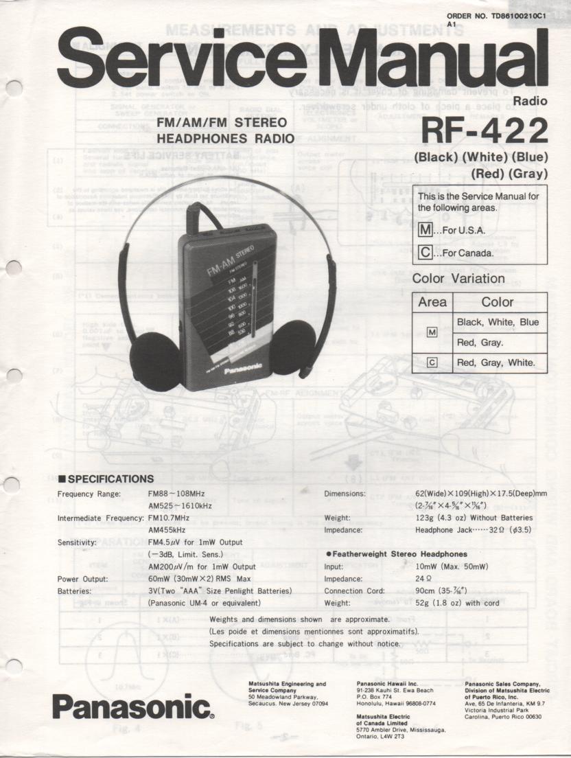RF-422 AM FM Radio Service Manual