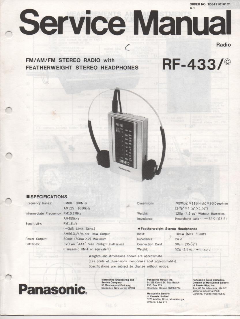 RF-433 AM FM Radio Service Manual