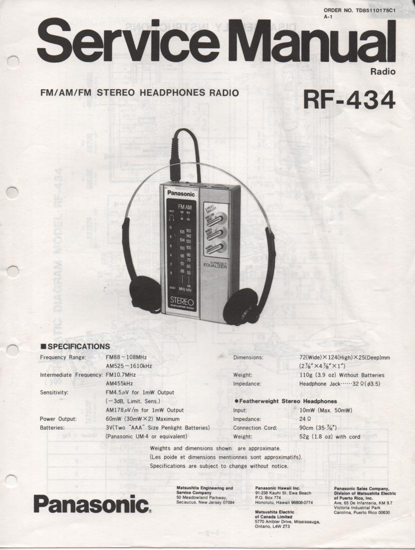 RF-434 AM FM Radio Service Manual