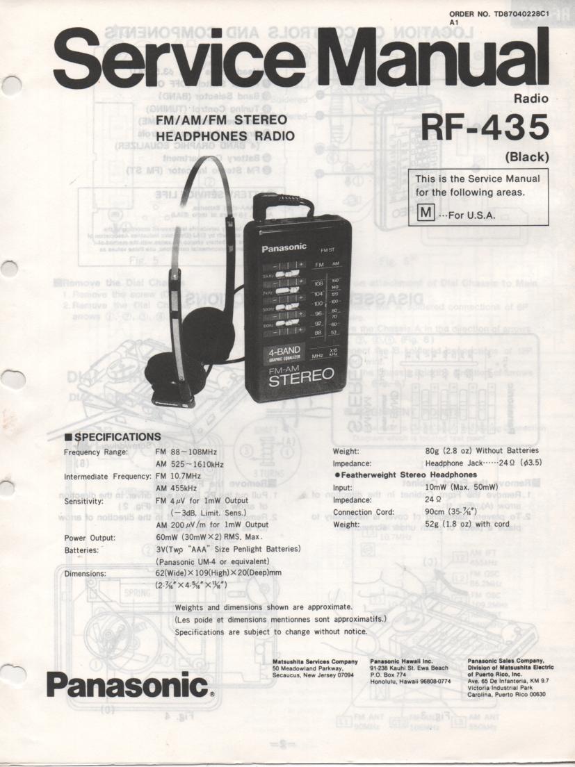 RF-435 AM FM Radio Service Manual