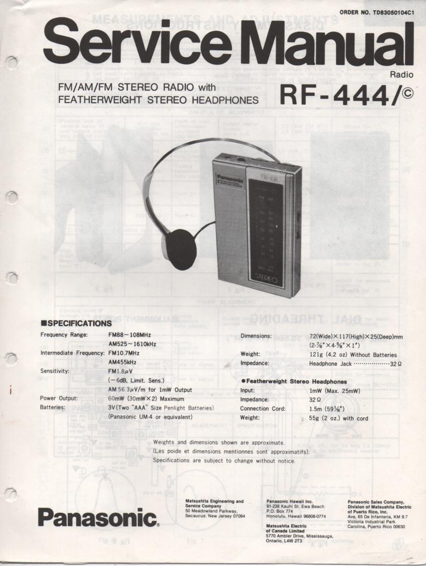 RF-444 AM FM Radio Service Manual